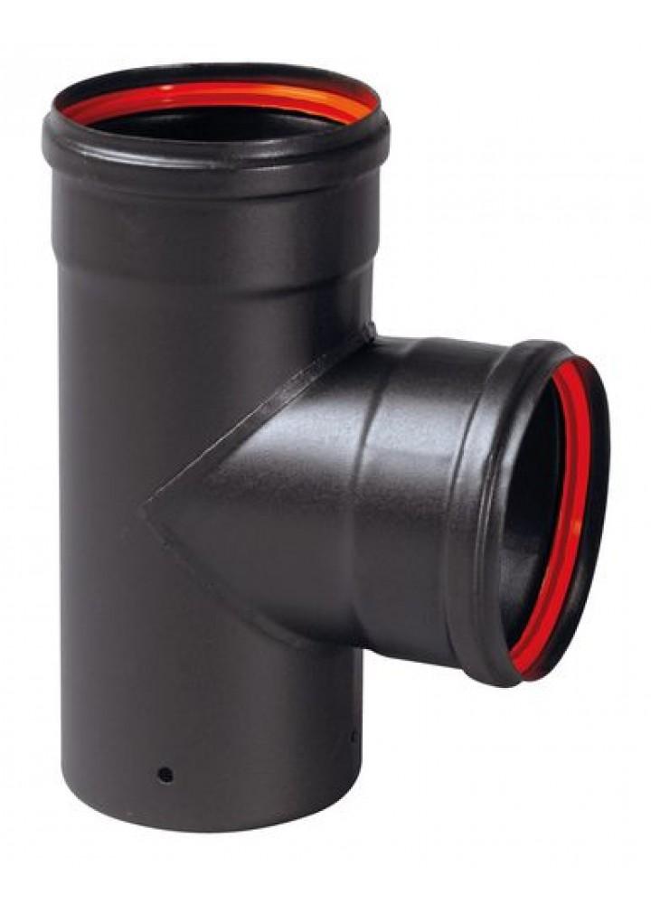 Tee 90° diametro 80 Mod. Black Fire In Acciaio Al Carbonio Porcellanato Nero - Wierer