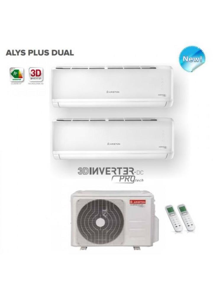 Climatizzatore Condizionatore Ariston Dual Split Inverter Alys Plus 9000+9000 Btu Con Dual 55 Xd0b-O