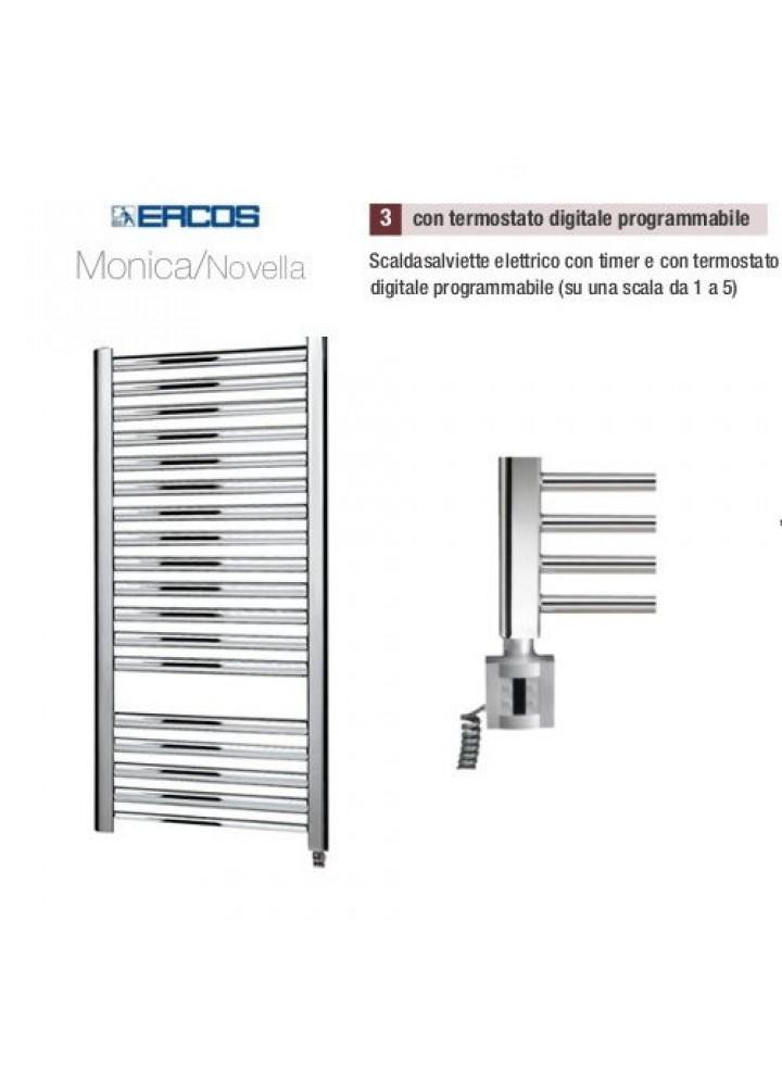Termoarredo Scaldasalviette Ercos Monica/Novella Cromato Elettrico Con Termostato Digitale Programmabile 4 Modelli