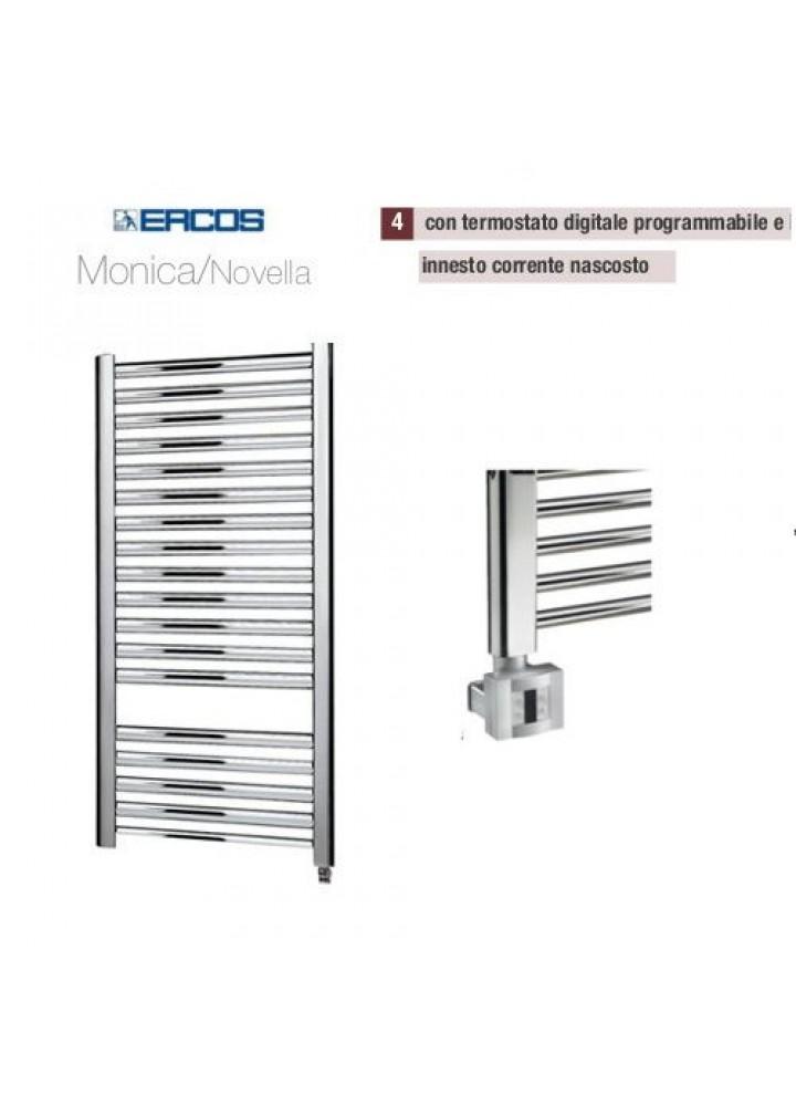 Termoarredo Scaldasalviette Ercos Monica/Novella Cromato Elettrico Con Termostato Digitale E Sistema Copricavo 4 Modelli