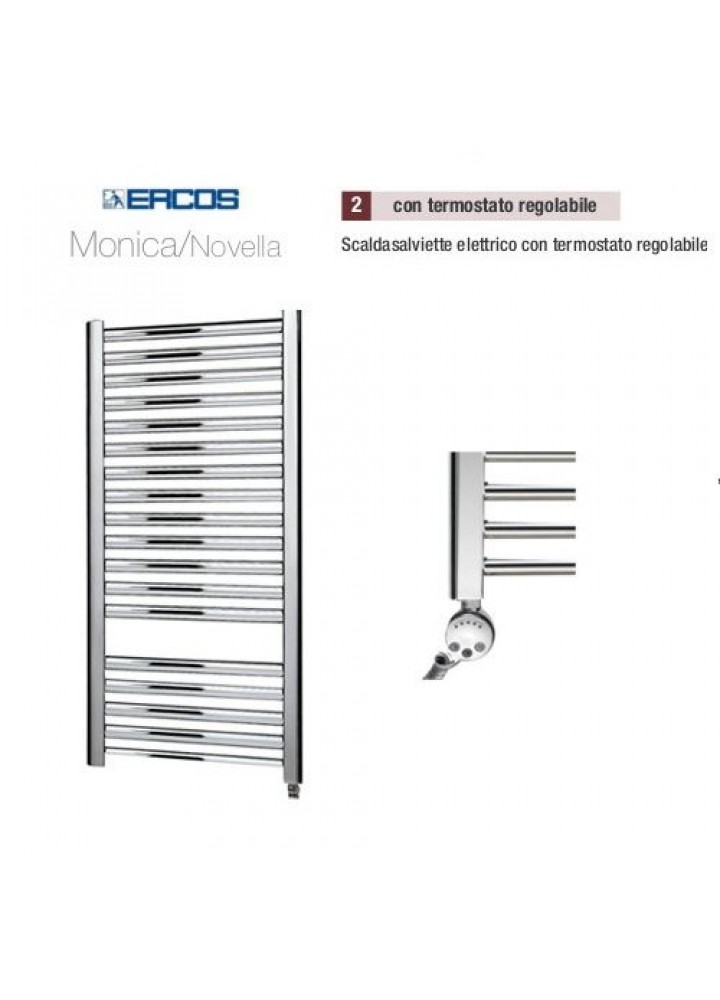 Termoarredo Scaldasalviette Ercos Monica/Novella Cromato Elettrico Con Termostato Regolabile 4 Modelli