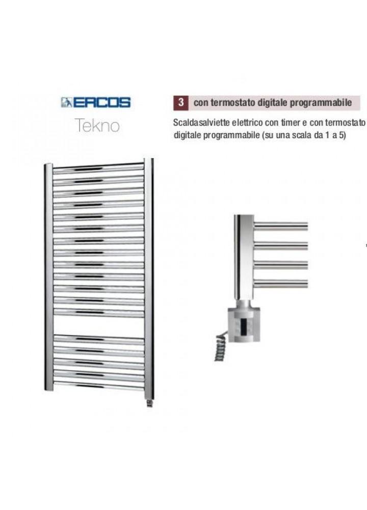 Termoarredo Scaldasalviette Ercos Tekno Cromato Elettrico Con Termostato Digitale Programmabile 4 Modelli